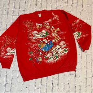 Vintage 80's Ugly Christmas Crewneck Puff Paint